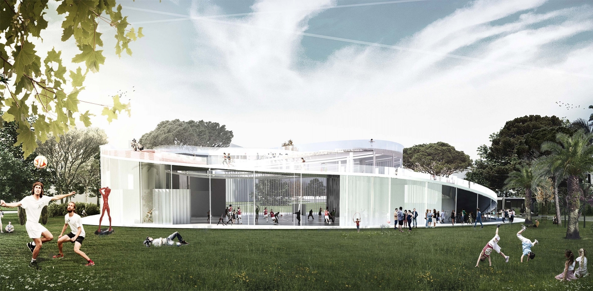 The gymnasium integrates into its environment by opening completely to the outside